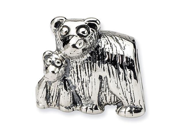 "925 Sterling Silver 3/8"" Mama Baby Cub Bear Charm Bead"