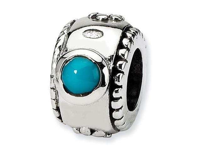 """Solid 925 Sterling Silver 1/4"""" Charm Turquoise CZ Bead"""