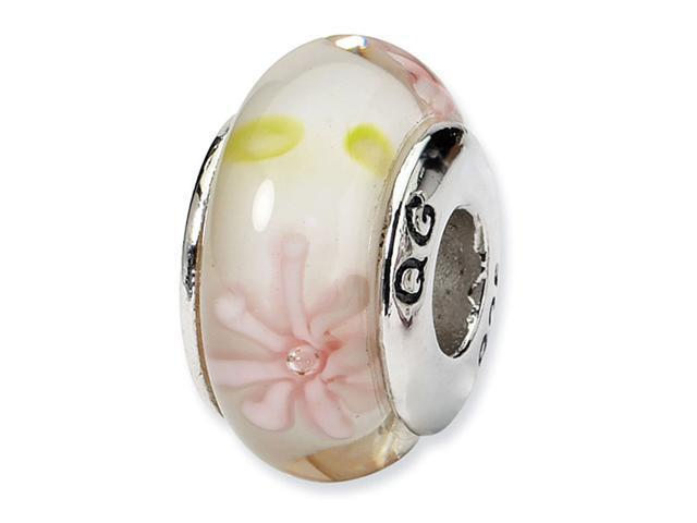 925 Sterling Silver Pink Floral Hand Blown Glass Bead