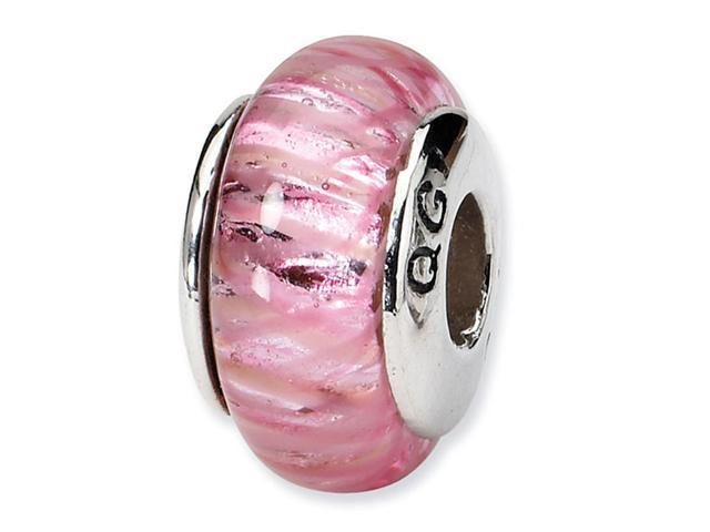 925 Sterling Silver Hand Blown Glass Pink Jewelry Bead