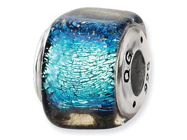 925 Sterling Silver Square Blue Dichroic Glass Bead