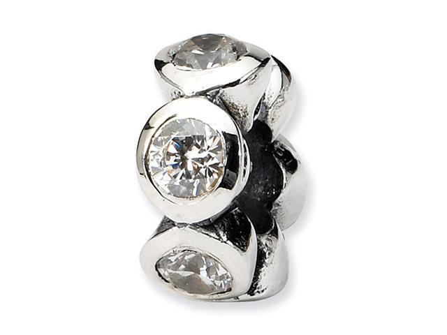 "Solid 925 Sterling Silver Round CZ 3/16"" Jewelry Bead"