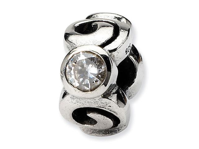 Solid 925 Sterling Silver Round CZ Swirl Jewelry Bead