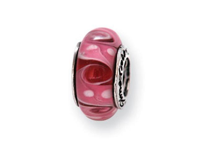 925 Silver Hand Blown Glass Pink White Dots Swirl Bead