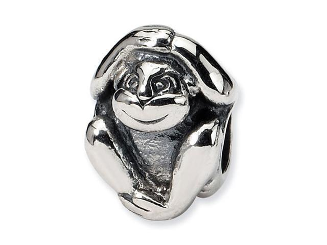 925 Sterling Silver Charm Sitting Monkey Animal Bead