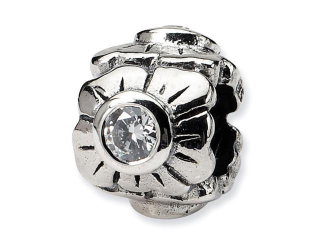 "925 Sterling Silver Flower Round CZ 3/8"" Jewelry Bead"