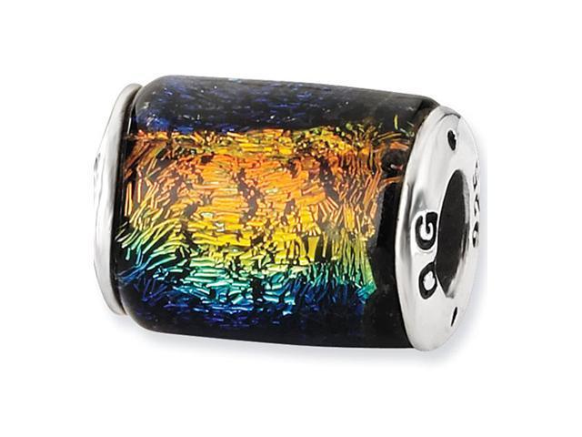 925 Sterling Silver Rainbow Barrel Dichroic Glass Bead