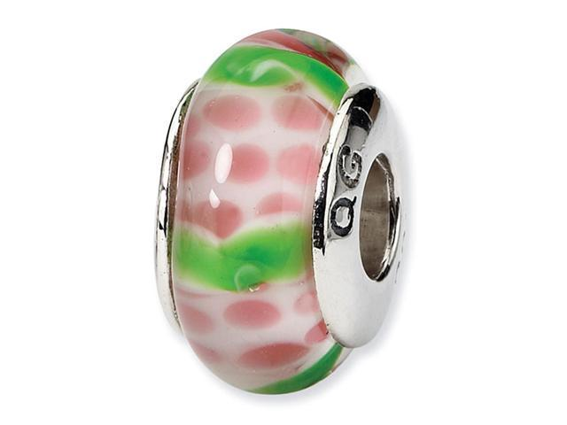925 Silver Hand Blown Glass Green Pink White Charm Bead