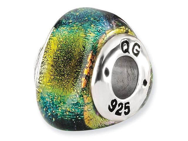 925 Sterling Silver Triangle Yellow Dichroic Glass Bead