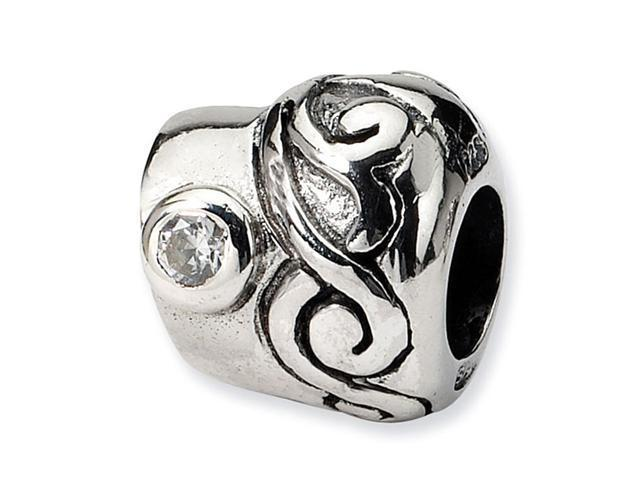 925 Sterling Silver Swirl Clear Round CZ Jewelry Bead