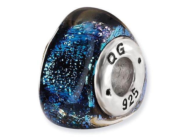 925 Sterling Silver Triangle Blue Dichroic Glass Bead