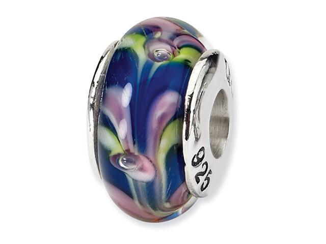 "925 Silver 1/4"" Blue Green Purple Hand Blown Glass Bead"