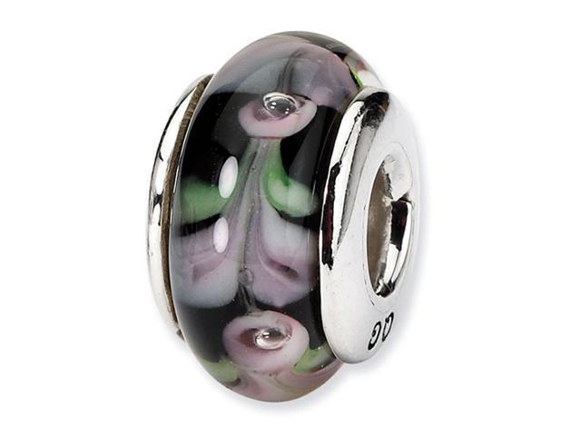 "925 Silver 1/4"" Black Green White Hand Blown Glass Bead"