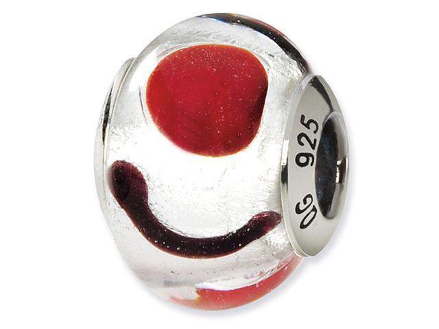 925 Silver Red White Black Italian Murano Glass Bead