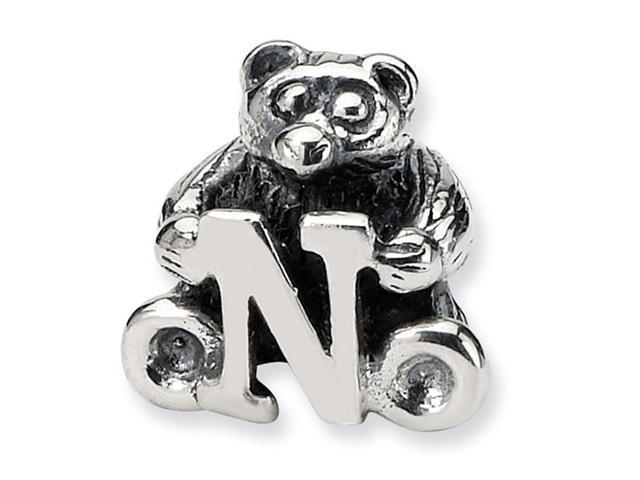 925 Sterling Silver Kids Bear Letter N Alphabet Bead