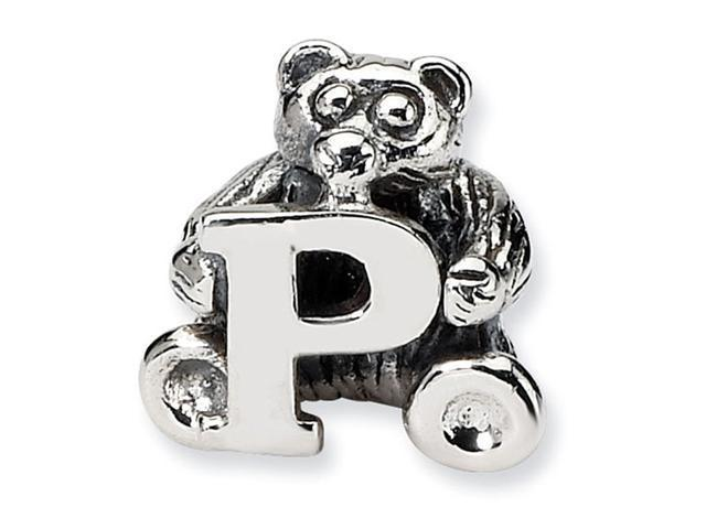 925 Sterling Silver Kids Bear Letter P Alphabet Bead