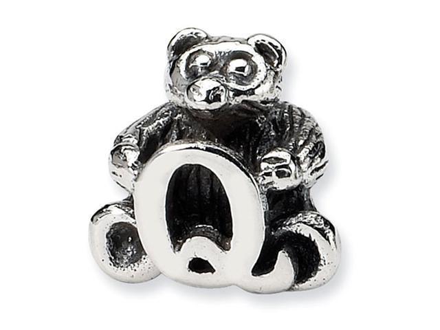 925 Sterling Silver Kids Bear Letter Q Alphabet Bead