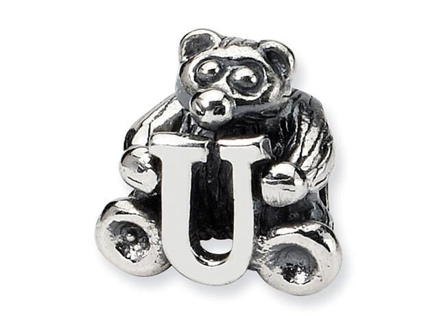 925 Sterling Silver Kids Bear Letter U Alphabet Bead