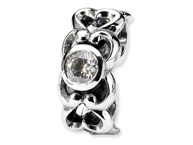 925 Sterling Silver CZ Hearts Charm Connector Bead
