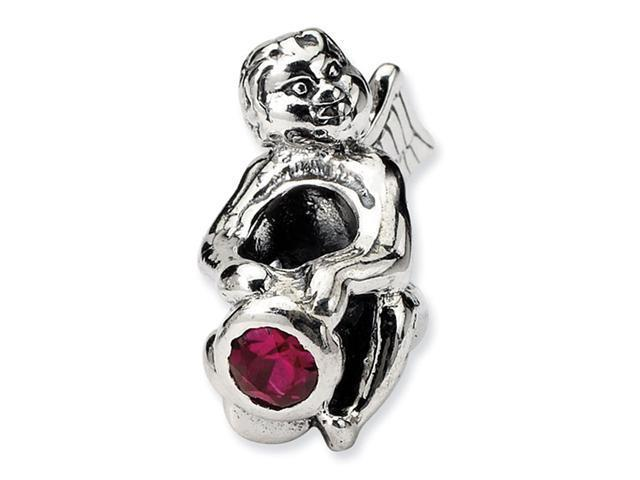 925 Sterling Silver July Ruby CZ Birthstone Angel Bead