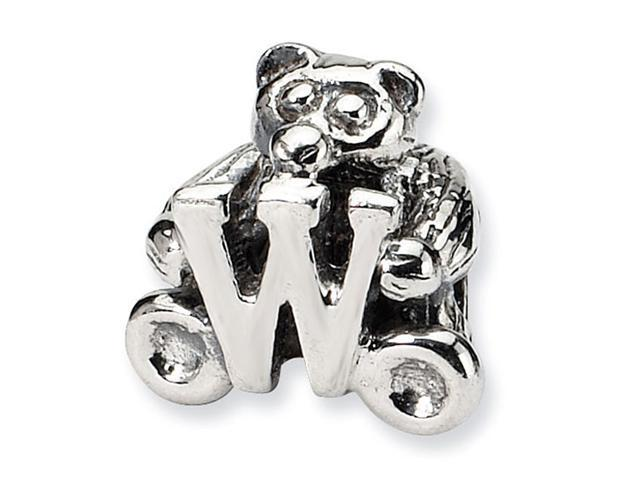 925 Sterling Silver Kids Bear Letter W Alphabet Bead