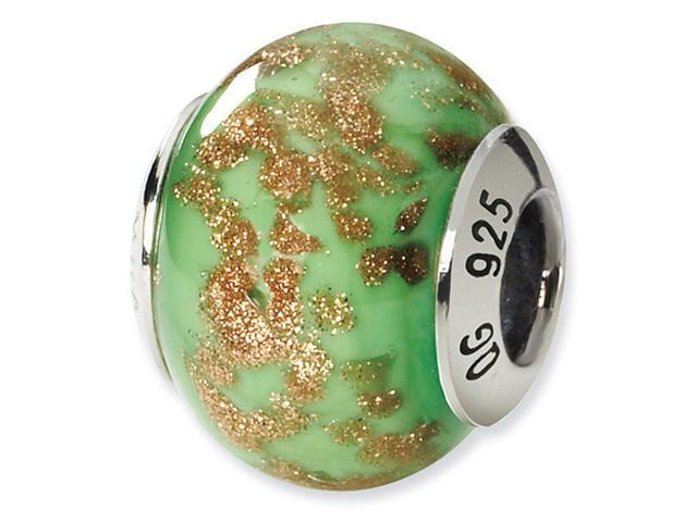 925 Silver Green Gold Speckled Murano Glass Charm Bead