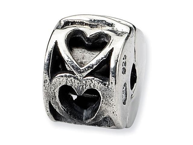 925 Sterling Silver Kids Heart Clip Hinged Charm Bead