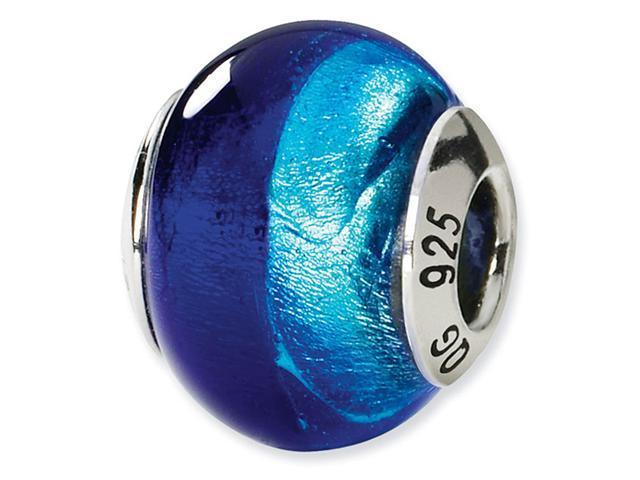 925 Silver Dark Light Blue Italian Murano Glass Bead