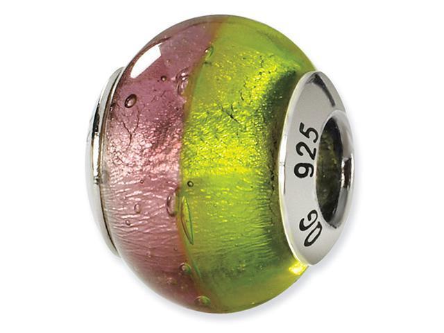 925 Silver Pastel Pink Green Italian Murano Glass Bead