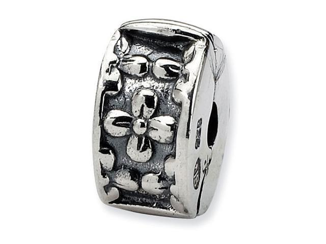 925 Sterling Silver Kids Floral Clip Hinged Charm Bead