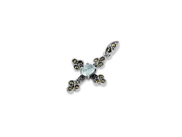 .925 Sterling Silver CZ Blue Marcasite Cross Pendant