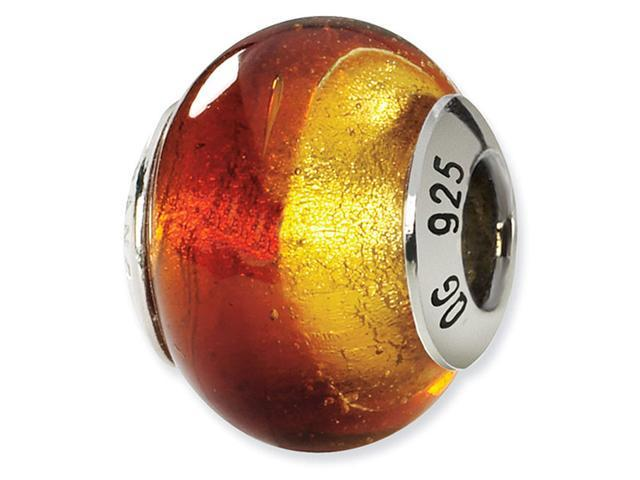 925 Silver Yellow Red Italian Murano Glass Jewelry Bead