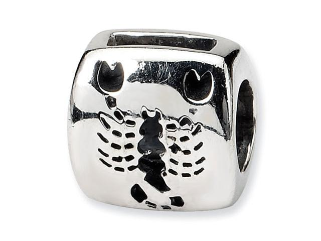 Sterling Silver Scorpio Zodiac Scorpion Antiqued Bead