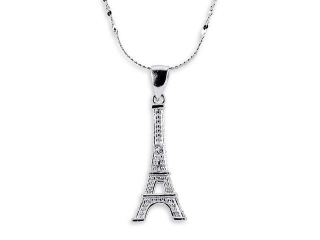 .925 Sterling Silver Round CZ Eiffel Tower Necklace