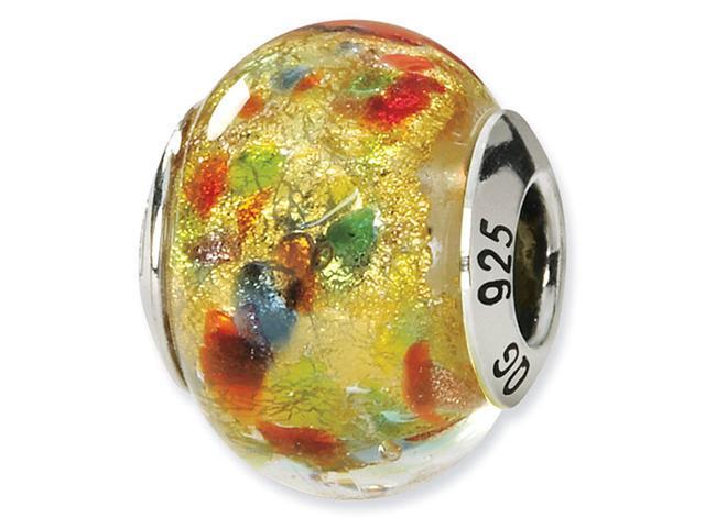 925 Silver Yellow Multicolor Italian Murano Glass Bead