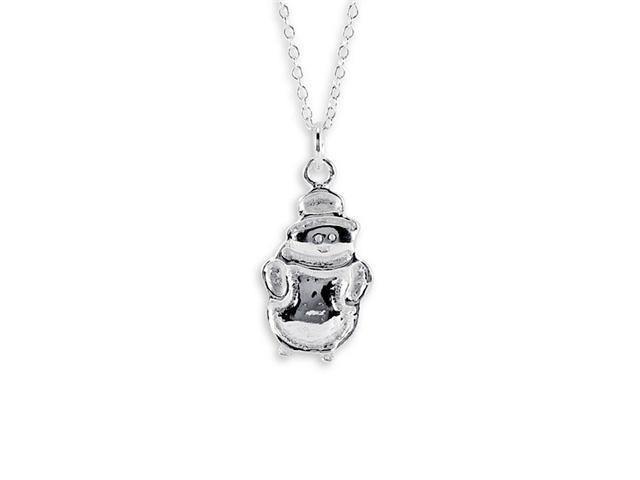 New 925 Sterling Silver Snowman Charm Pendant Necklace