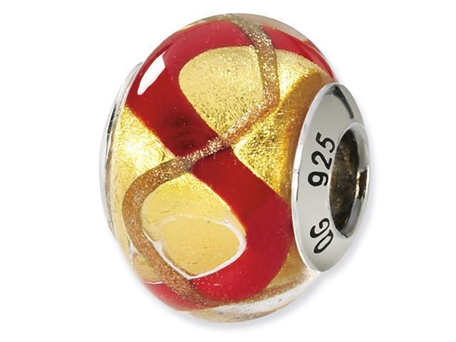 925 Silver Red Yellow Gold Italian Murano Glass Bead