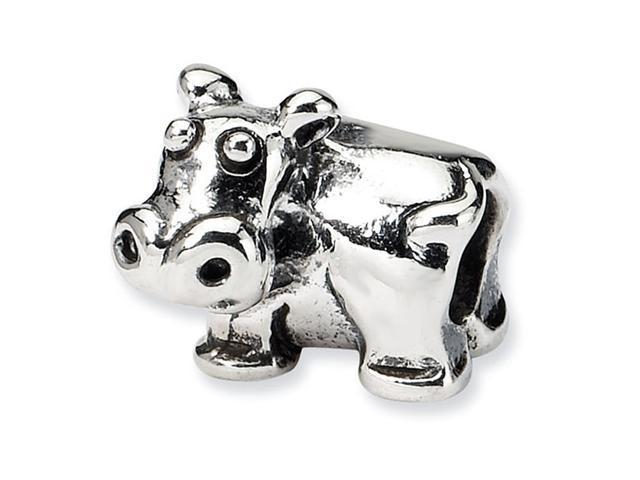 """925 Sterling Silver 1/4"""" Kids Hippo Animal Jewelry Bead"""