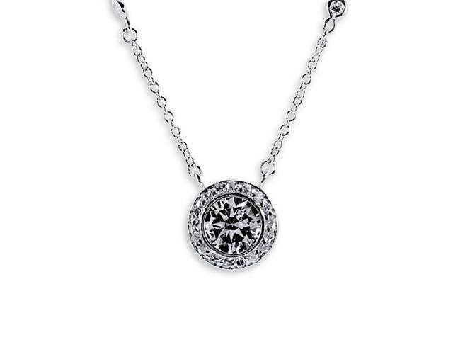 .925 Sterling Silver Round White CZ Pendant Necklace