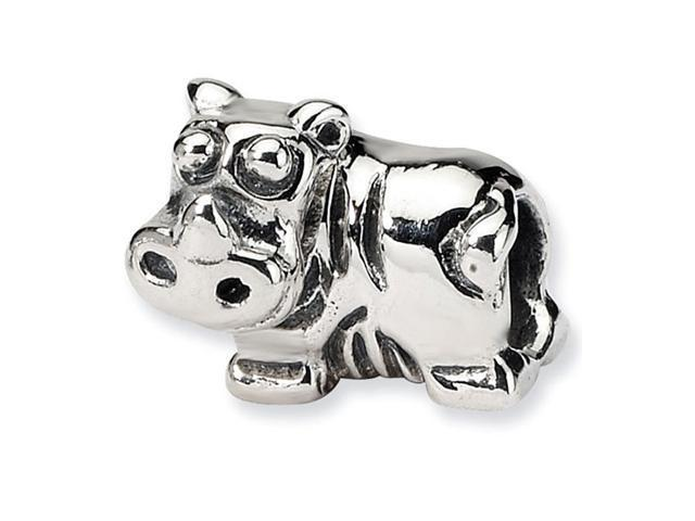 "925 Sterling Silver 1/4"" Kids Charm Animal Hippo Bead"