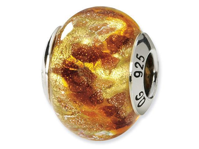 925 Silver Yellow Brown Gold Italian Murano Glass Bead