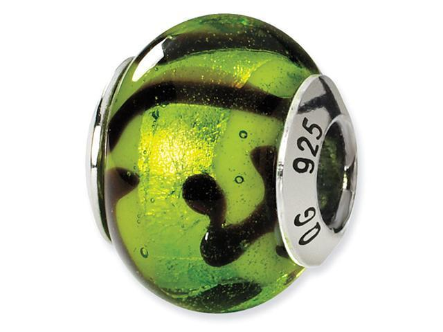 925 Silver Green Black Swirls Murano Glass Charm Bead