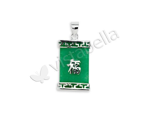 925 Silver Green Jade Chinese Good Luck Charm Pendant