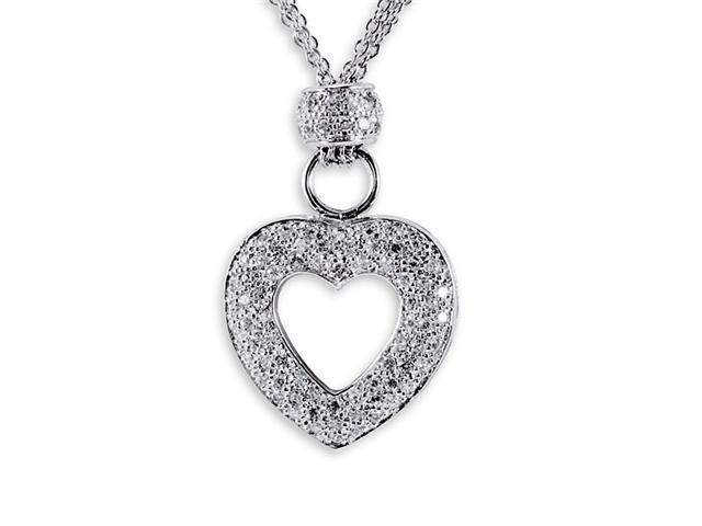 925 Sterling Silver CZ Cluster Heart Pendant Necklace