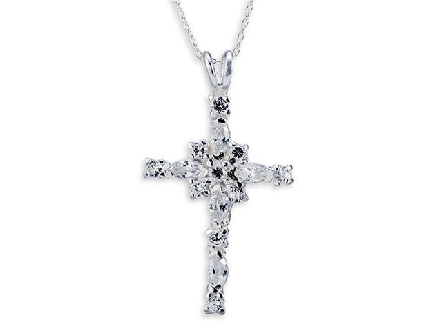 925 Sterling Silver Cross Oval Round White CZ Necklace