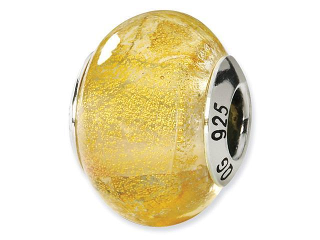925 Sterling Silver Yellow Italian Murano Glass Bead