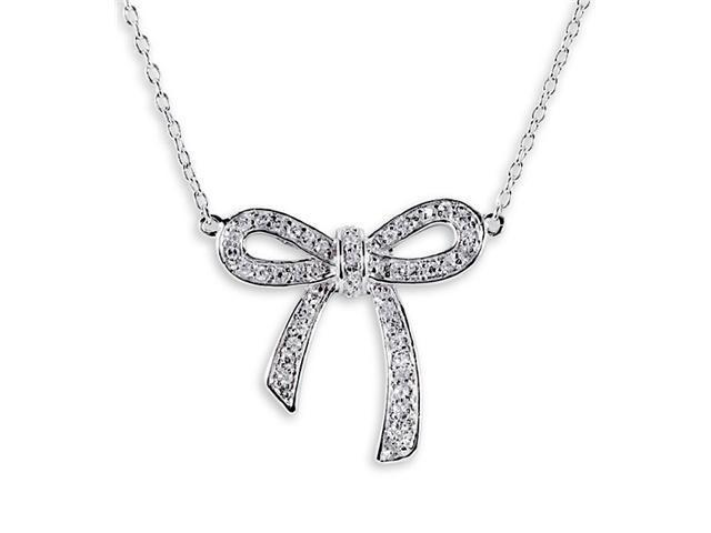 925 Sterling Silver CZ Pave Ribbon Bow Charm Necklace