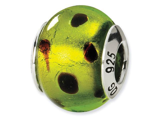 925 Silver Green Black Dots Murano Glass Charm Bead