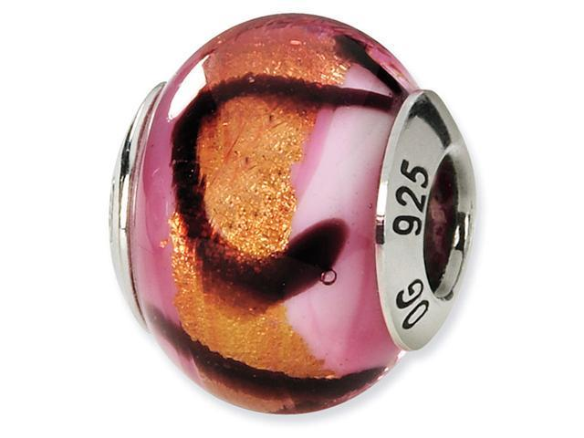 925 Silver Black Pink Orange Italian Murano Glass Bead