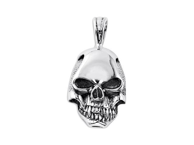 Mens 925 Sterling Silver Gothic Biker Skull Pendant